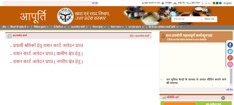 New UP Ration Card Application Farm